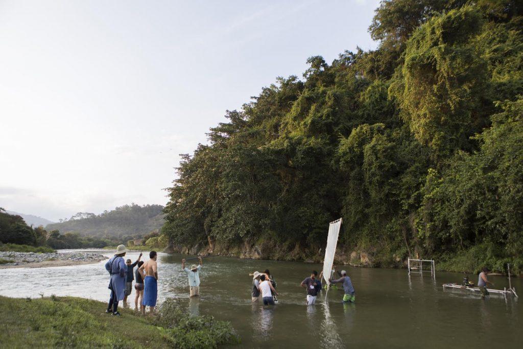 Rodaje en el rio. El Proyeccionista. Jose Maria Cabral Foto de la produccion.